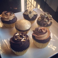 Chocolate Cupcakes with Chocolate Ganache and Caramel Frosting