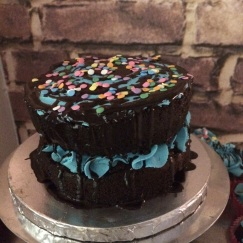 Chocolate Cake with Vanilla Buttercream and a Chocolate Glaze